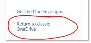 Return to classic OneDrive
