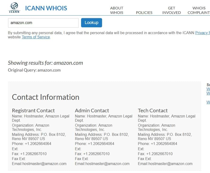 Amazon.com WhoIs Domain Info - image